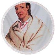 Portrait Of A-mis-quam, A Winnebago Brave Coloured Engraving Round Beach Towel