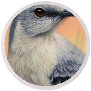 Portrait Of A Mockingbird Round Beach Towel