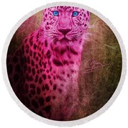 Portrait Of A Pink Leopard Round Beach Towel