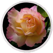 Portrait Of A Rose Round Beach Towel by Rona Black