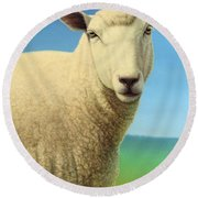 Portrait Of A Sheep Round Beach Towel by James W Johnson