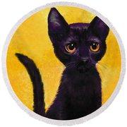 portrait of a small black cat named  LuLu Round Beach Towel