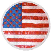Portrait Of A Tender Land Within My Heart Round Beach Towel