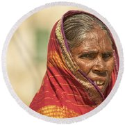 Portrait Of A Woman In Hampi Round Beach Towel