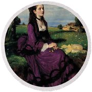 Portrait Of A Woman In Lilac Round Beach Towel