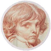 Portrait Of A Young Boy Round Beach Towel