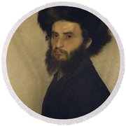 Portrait Of A Young Jewish Man  Round Beach Towel by Isidor Kaufmann