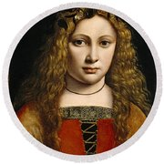 Portrait Of A Youth Crowned With Flowers Round Beach Towel by Giovanni Antonio Boltraffio