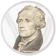 Portrait Of Alexander Hamilton On White Background Round Beach Towel