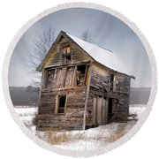 Portrait Of An Old Shack - Agriculural Buildings And Barns Round Beach Towel