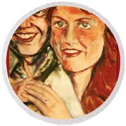 Portrait Of Andrew And Sarah Round Beach Towel