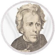 Portrait Of Andrew Jackson On White Background Round Beach Towel