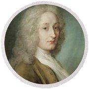 Portrait Of Antoine Watteau 1684-1721 Pastel On Paper Round Beach Towel
