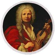 Portrait Of Antonio Vivaldi Round Beach Towel