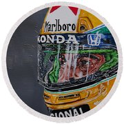 Portrait Of Ayrton Senna Round Beach Towel