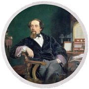 Portrait Of Charles Dickens Round Beach Towel