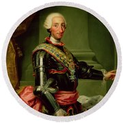 Portrait Of Charles IIi 1716-88 C.1761 Oil On Canvas Round Beach Towel