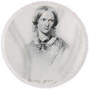 Portrait Of Charlotte Bronte, Engraved Round Beach Towel by George Richmond