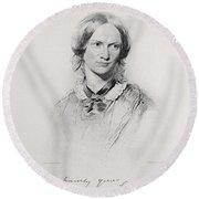 Portrait Of Charlotte Bronte, Engraved Round Beach Towel