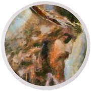 Portrait Of Christ Round Beach Towel