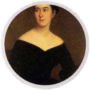 Portrait Of Cornelia Knott Miltenberger Round Beach Towel