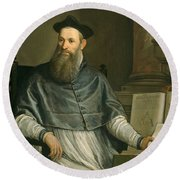 Portrait Of Daniele Barbaro Round Beach Towel by Paolo Caliari Veronese