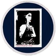 Portrait Of Drina Round Beach Towel