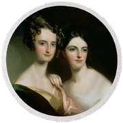 Portrait Of Ellen And Mary Mcilvaine, 1834 Oil On Canvas Round Beach Towel