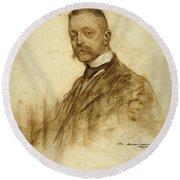 Portrait Of Emile Bertaux Round Beach Towel