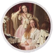 Portrait Of Emma And Frederica Bankes Round Beach Towel