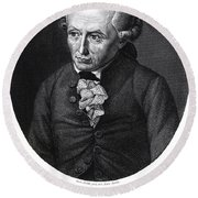 Portrait Of Emmanuel Kant  Round Beach Towel by German School
