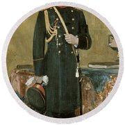 Portrait Of Emperor Nicholas II 1868-1918 1895 Oil On Canvas Round Beach Towel