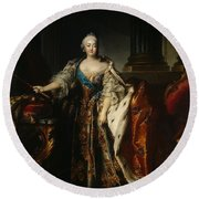 Portrait Of Empress Elizabeth, 1758 Oil On Canvas Round Beach Towel