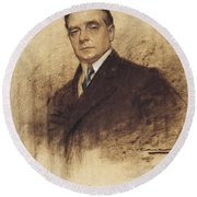 Portrait Of Enric Borras Round Beach Towel