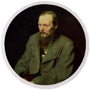 Portrait Of Fyodor Dostoyevsky Round Beach Towel