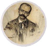Portrait Of Gabriel Alomar Round Beach Towel