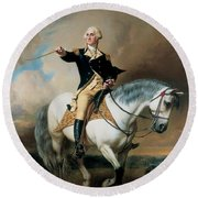 Portrait Of George Washington Taking The Salute At Trenton Round Beach Towel