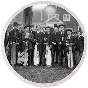 Portrait Of Golf Caddies Round Beach Towel