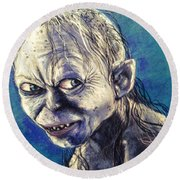 Portrait Of Gollum Round Beach Towel