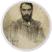Portrait Of Gustave Violet Round Beach Towel