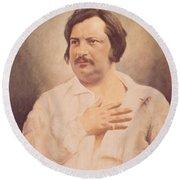 Portrait Of Honore De Balzac Round Beach Towel