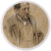 Portrait Of Iscle Soler Round Beach Towel