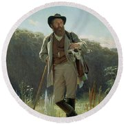 Portrait Of Ivan Ivanovich Shishkin Round Beach Towel