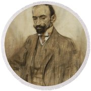 Portrait Of Jacinto Benavente Round Beach Towel