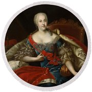 Portrait Of Johanna-elizabeth, Electress Of Anhalt-zerbst, C.1746 Oil On Canvas Round Beach Towel