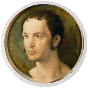 Portrait Of Johannes Kleberger Round Beach Towel