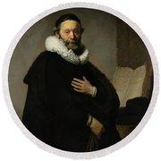 Portrait Of John Wtenbogaert Round Beach Towel