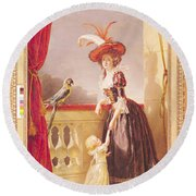 Portrait Of Louise-elisabeth De France 1727-59 Duchess Of Parma And Her Son Ferdinand 1751-1802 Round Beach Towel