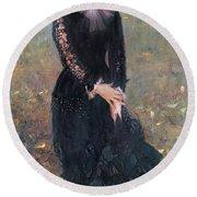 Portrait Of Madame Edouard Pailleron Round Beach Towel
