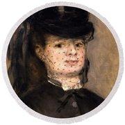 Portrait Of Madame Paul Darras Round Beach Towel